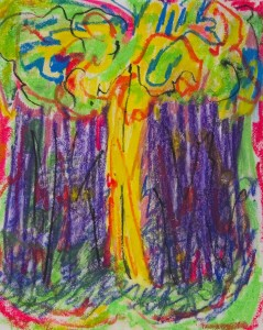 MOLLY GAYLEY Into the Woods Oil stick on paper, 15 x 12 inches $250