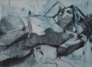 SUSAN TERMYN   Contraposto in Charcoal on Maya Blue Charcoal & watercolor on paper, 18 x 24 inches $525