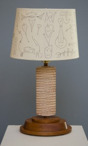 MARK DelGUIDICE, Wedge Lamp, curly maple, mahogany; 21 inches H x 12 inches W x 9 inches D, $695