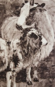 CAROLYN LETVIN, Sheep #18, oil monotype; 16.25 x 10.25 inches $450