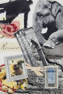 MADELINE FINDLAY, The Tower, collage; 7 x 5 inches, $150
