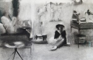 KELLEY HARWOOD, Brimfield, charcoal on paper; 15 x 22 inches, $600