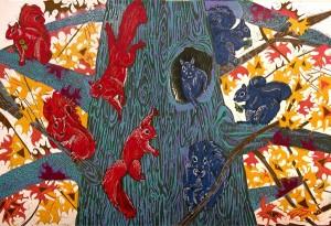 SUSAN JAWORSKI STRANC, Red squirrels, Blue Squirrels, reduction linoleum; 30 x 44 inches, $1,500