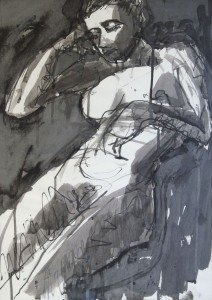 PHILIP KELSEY, Seated Nude, ink on paper; 22 x 16 inches, $200