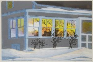 DAVID MORGAN, Island Winter, woodcut print; 6 x 9 inches, $200