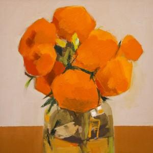 MYRNA BEECHER, Marigolds Oil on Panel; 8 x 8 inches; $1,600
