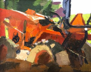 RON KROUK, Stuck Oil on prepared paper on panel; 8 x 10 inches; $400