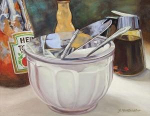 JANET MONTECALVO, Breakfast I Oil on panel; 11 x 14 inches; $800
