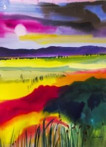 GRACIA DAYTON. Purple Mountain Watercolor; 42 x 32 inches; #3,600