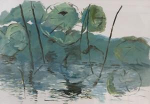 SOPHIA YEE, Summer Lotus Oil on paper; 27 x 36 inches; $5,000