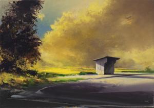 Bus Stop Yellow (2011), 2020, Oil on linen, 14x20  Photo: Julia Featheringill Photography, Contact: Abigail Ogilvy Gallery