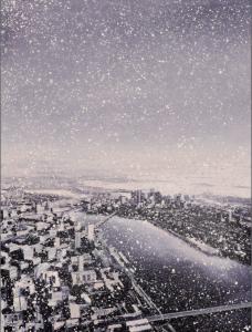 "Boston/Snow (#2106)2021, Oil on linen, 48 x 36""Photo: Julia Featheringill, Contact: Abigail Ogilvy Gallery"